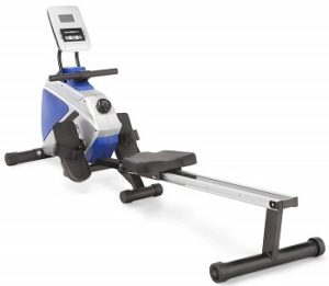 Marcy Foldable 8-Level Magnetic Resistance Rowing Machine with Transport Wheels blue
